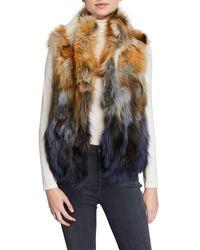 Adrienne Landau Fox Fur Vest - Purple