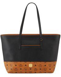 MCM Two-tone Logo Shopper Tote Bag - Black