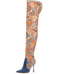 396ae62da8d Manolo Blahnik - Temaquita Floral Over-the-knee Boot - Lyst