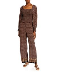 Max Studio Smocked Puff-sleeve Jumpsuit - Brown