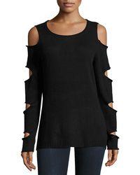 Zero Degrees Celsius Ladder-sleeve Cold-shoulder Sweater - Black