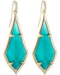 Kendra Scott - Olivia Drop Earrings Emerald-hue Cat's Eye - Lyst