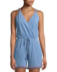 Neiman Marcus - Embroidered-trim Surplice-neck Short Romper - Lyst