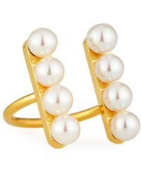 Majorica - Minimalist Pearl Bar Open-front Ring - Lyst