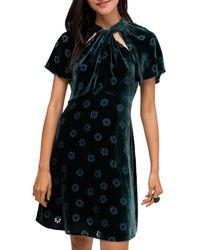 Kate Spade Spade Clover Velvet Dress - Green