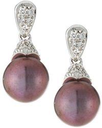 Belpearl - 14k White Gold Diamond Pave & Pearl Drop Earrings - Lyst