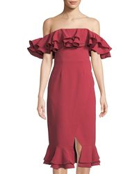 52695d85a65c7 C meo Collective - Immerse Ruffled Off-the-shoulder Cocktail Dress - Lyst