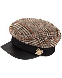 San Diego Hat Company - Herringbone Fisherman Cap W/ Faux Leather Brim - Lyst