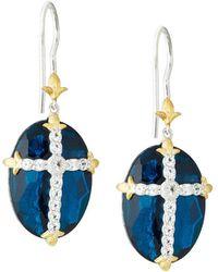 Jude Frances - Oval Quartz Doublet Dangle & Drop Earrings W/ Pave Cross Blue - Lyst