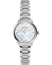 Burberry - 32mm Round Stainless Steel Bracelet Watch W/diamonds - Lyst