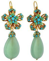 Jose & Maria Barrera Flower Drop Earrings - Green