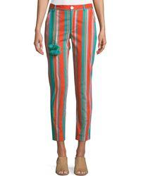Figue Zuri Straight-leg Striped Crop Cotton Pants - Blue