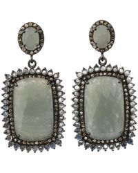 Bavna - Silver Rectangle Drop Earrings With Multicolor Sapphire - Lyst