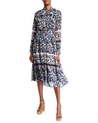 Julia Jordan Floral-print Tie-neck Midi Dress - Blue