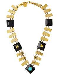 Ashley Pittman Pevu Necklace W/ Turquoise & Citrine - Metallic