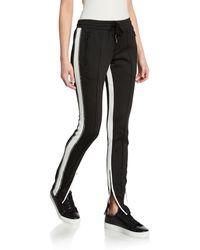 Pam & Gela Side-stripe Cigarette Track Pants With Rhinestones - Black