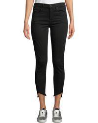 7 For All Mankind Gwenevere High-waist Raw Step-hem Jeans - Black