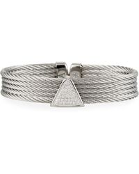 Alor - 5-row Bangle W/ Diamond Triangle Silvertone - Lyst