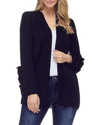 Fever Ruffle Sleeve Open Front Cardigan - Black