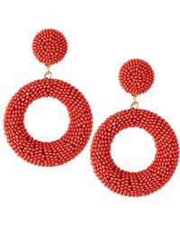 Panacea Seed Bead Hoop-drop Earrings Coral - Red