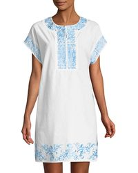 Neiman Marcus - Embroidered Poplin Short-sleeve Dress - Lyst