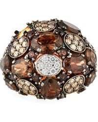 Roberto Coin 18k Rose Gold Smoky Quartz Mixed-diamond Ring Size 6.5 - Purple