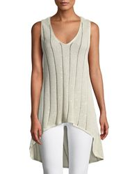 Brunello Cucinelli - Sleeveless Striped Shimmer High-low Sweater - Lyst