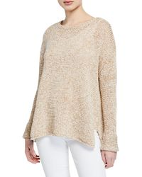 Neiman Marcus - Oversized Crewneck Cotton Sweater - Lyst