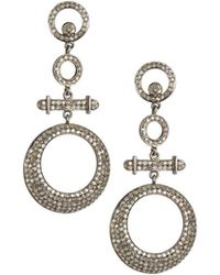 Bavna - Open-drop Earrings With Pave Champagne Diamonds - Lyst