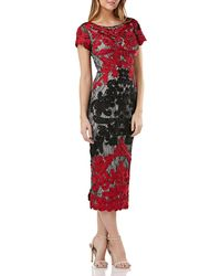 JS Collections - Boatneck Two-tone Embroidered Dress - Lyst