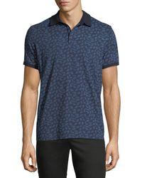 Neiman Marcus - Leaf-print Short-sleeve Polo Shirt - Lyst