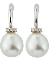 Belpearl - Diamond-cap Oblong South Sea Pearl Earrings - Lyst