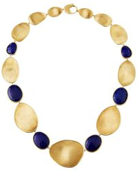 Marco Bicego Lunaria Lapis Alternating Station Necklace 18 - Blue