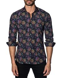 Jared Lang - Men's Semi-fitted Rainbow-scratch Rose Sport Shirt - Lyst