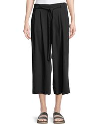 Dex - Belted-waist Cropped Palazzo Pants - Lyst
