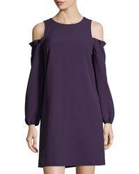 Eliza J - Balloon-sleeve Cold-shoulder Dress - Lyst