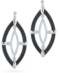 Alor - 18k Diamond & Cable Marquise Drop Earrings Black - Lyst