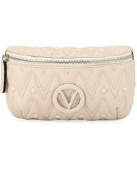 Valentino By Mario Valentino Quilted Leather Belt Bag/fanny Pack - Red