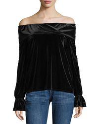 Waverly Grey - Off-shoulder Ruffled Velvet Date Night Top - Lyst