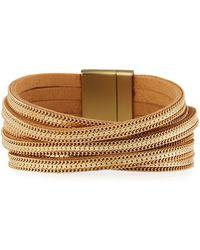 Panacea - Crisscross Chain & Leather Bracelet - Lyst