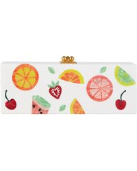 Edie Parker Flavia Fruit Cocktail Frame Clutch Bag - White