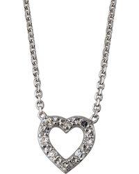 KC Designs 14k White Gold Open Diamond Heart Necklace - Metallic
