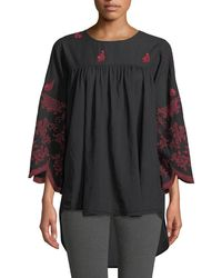 Johnny Was - Rose-stitch Voile Blouse With Drama Sleeves - Lyst