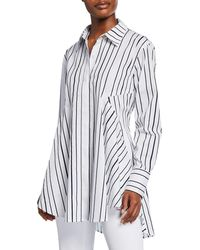 Donna Karan - Flared Striped Shirttail-hem Blouse - Lyst