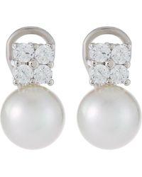Majorica 10mm Pearl & Square Cubic Zirconia Drop Earrings - White