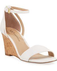 Neiman Marcus Frankie Ankle-strap Cork Wedge Sandals - White