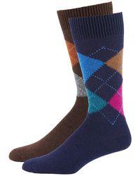 Punto Men's Argyle Knit Socks 2-pack Blue/brown