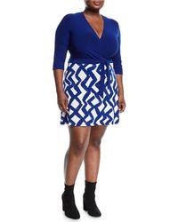 Neiman Marcus - Zigzag Print Wrapped Mini Combo Dress Plus Size - Lyst