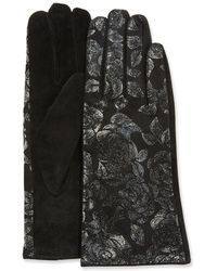 Neiman Marcus - Iridescent Roses Leather Gloves - Lyst