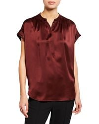 Vince - Silk Shirred-neck Cap-sleeve Blouse - Lyst